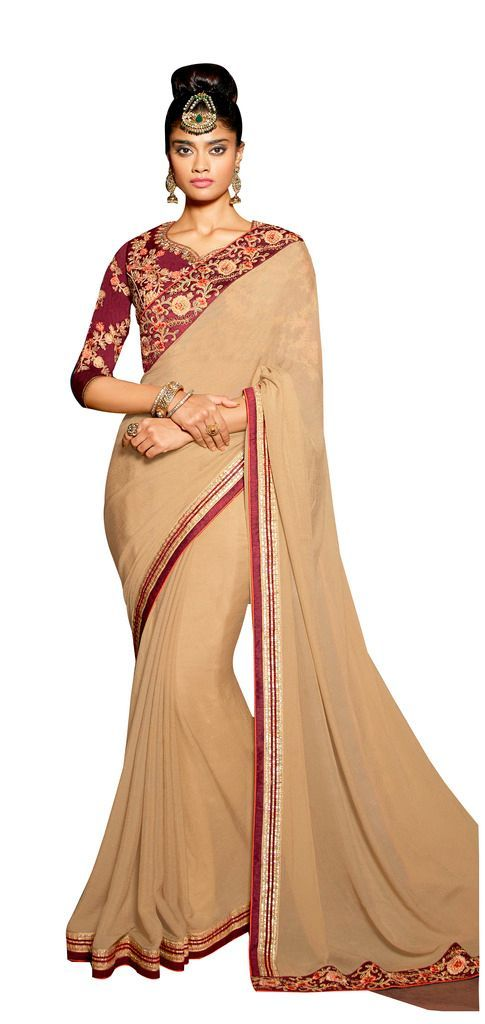 Exclusive Faux Georgette Beige Saree With Dsigner Blouse Fabric SC3008 - Ethnic's By Anvi Creations
