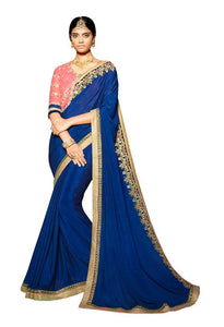 Exclusive Faux Georgette Blue Saree With Dsigner Blouse Fabric SC3010 - Ethnic's By Anvi Creations