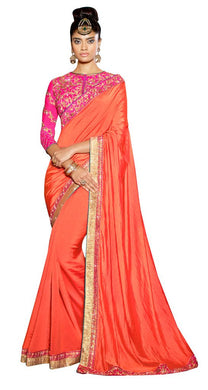 Exclusive Poly Satin Orange Saree With Dsigner Blouse Fabric SC3011 - Ethnic's By Anvi Creations