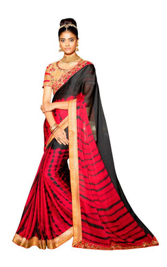Exclusive Poly Satin Black Saree With Dsigner Blouse Fabric SC3012 - Ethnic's By Anvi Creations