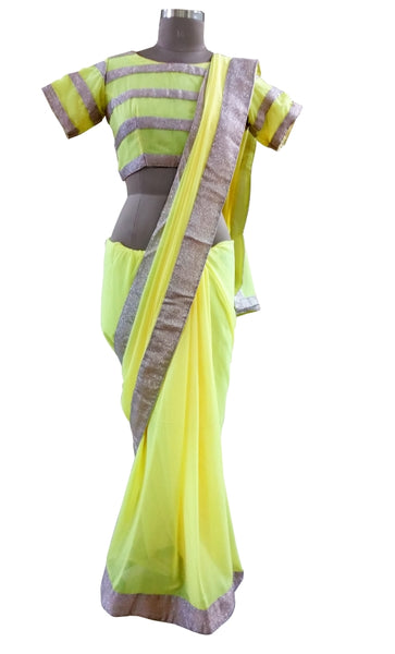 Yellow Faux Georgette Shimmer Border Saree With Stitched Designer Blouse ASS67