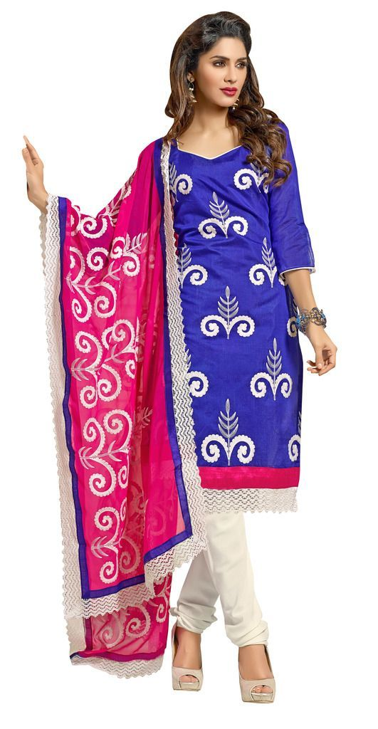 Blue Chanderi Straight Cut Suit - Ethnic's By Anvi Creations