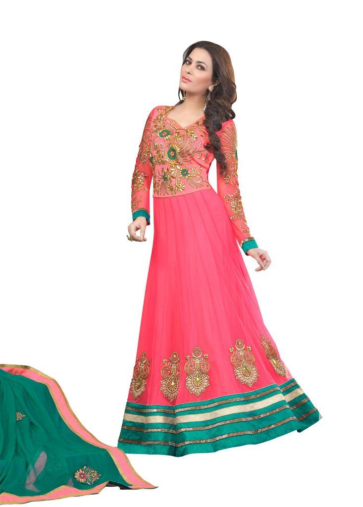 Designer Embroidered Pink Long Anarkali Dress Material Aries7011 - Ethnic's By Anvi Creations