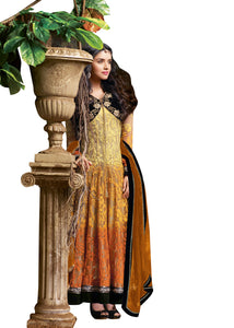 Yellow Georgette Semi Stitched Dress Material Asin3023