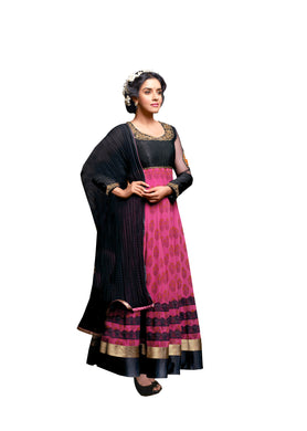 Pink Black Georgette Printed Embroidered Anarkali Dress Material Asin3029