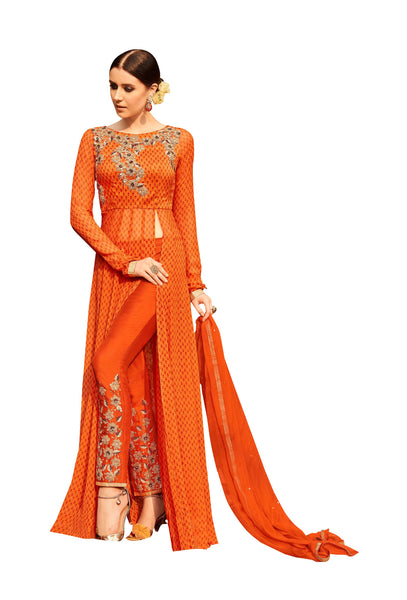 Designer Semi Stitched Orange Georgette Embroidered Dress Material RM6604 - Ethnic's By Anvi Creations