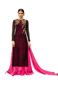 Designer Semi Stitched Pink Black Georgette Embroidered Gown Style Dress Material RM6605 - Ethnic's By Anvi Creations