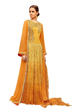 Designer Semi Stitched Yellow Georgette Brasso Embroidered Shrug Gown Dress Material RM6606 - Ethnic's By Anvi Creations