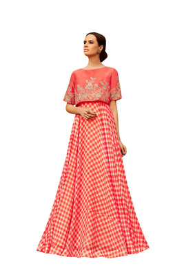 Designer Semi Stitched Peach Pink Georgette Embroidered Gown Dress Material RM6607 - Ethnic's By Anvi Creations