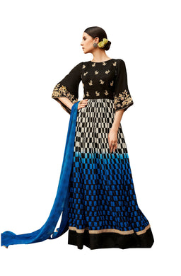Designer Semi Stitched Blue Black Georgette Embroidered Gown Dress Material RM6609 - Ethnic's By Anvi Creations