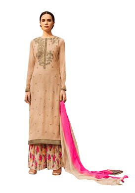 Designer Semi Stitched Beige Multi Georgette Embroidered Sharara Dress Material RM6610 - Ethnic's By Anvi Creations