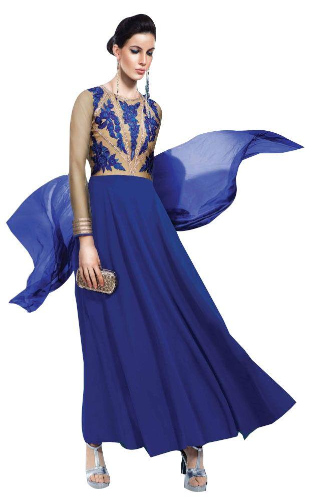 Designer Blue Georgette Embroidered Dress Material With Chiffon Dupatta B7141 - Ethnic's By Anvi Creations
