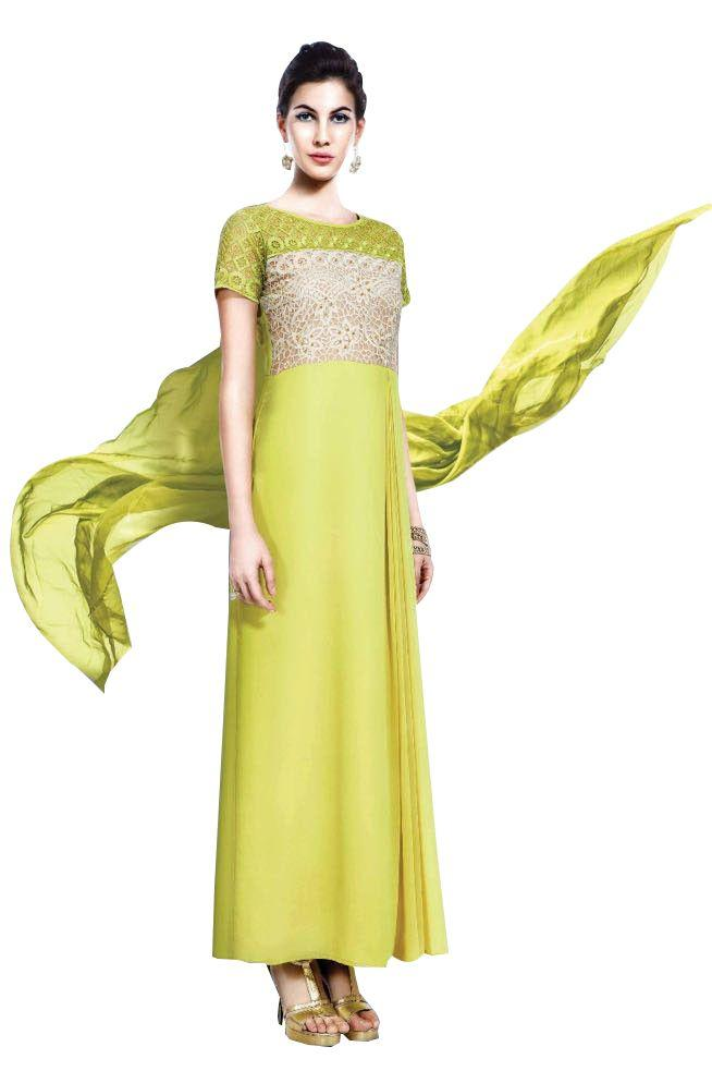 Designer Green Georgette Embroidered Dress Material With Chiffon Dupatta B7145 - Ethnic's By Anvi Creations