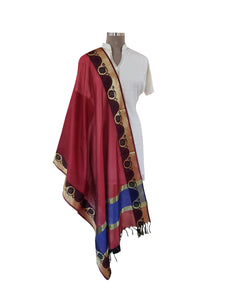 Benaras Cotton Silk Dupatta (Maroon_BCPD01) - Ethnic's By Anvi Creations
