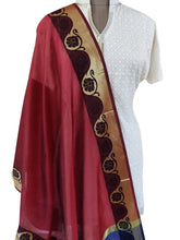 Load image into Gallery viewer, Benaras Cotton Silk Dupatta (Maroon_BCPD01) - Ethnic's By Anvi Creations