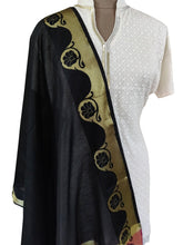 Load image into Gallery viewer, Benaras Cotton Silk Dupatta (Black_BCPD02) - Ethnic's By Anvi Creations