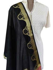 Benaras Cotton Silk Dupatta (Black_BCPD02) - Ethnic's By Anvi Creations