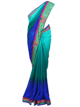 Load image into Gallery viewer, Designer Blue/Green georgette embroidered saree SC119 - Ethnic's By Anvi Creations