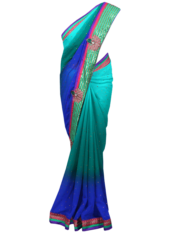 Designer Blue/Green georgette embroidered saree SC119 - Ethnic's By Anvi Creations