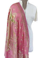 Load image into Gallery viewer, Benaras Dupion Silk Dupatta (Pink_BDHP01) - Ethnic's By Anvi Creations