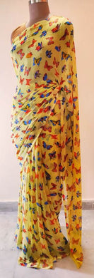 Yellow Butterfly Printed Georgette Saree with Blouse BF03