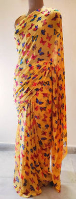 Peach Butterfly Printed Georgette Saree with Blouse BF04
