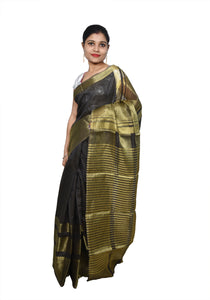 Designer Zari Border Black Bangalore Silk Saree BGS01