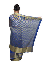 Load image into Gallery viewer, Designer Zari Border Navy Blue Bangalore Silk Saree BGS04