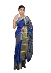 Designer Zari Border Navy Blue Bangalore Silk Saree BGS04