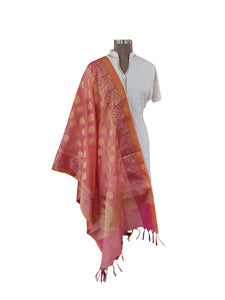 Benaras Kota Cotton Weaven Dupatta (Orange_BKCD02) - Ethnic's By Anvi Creations