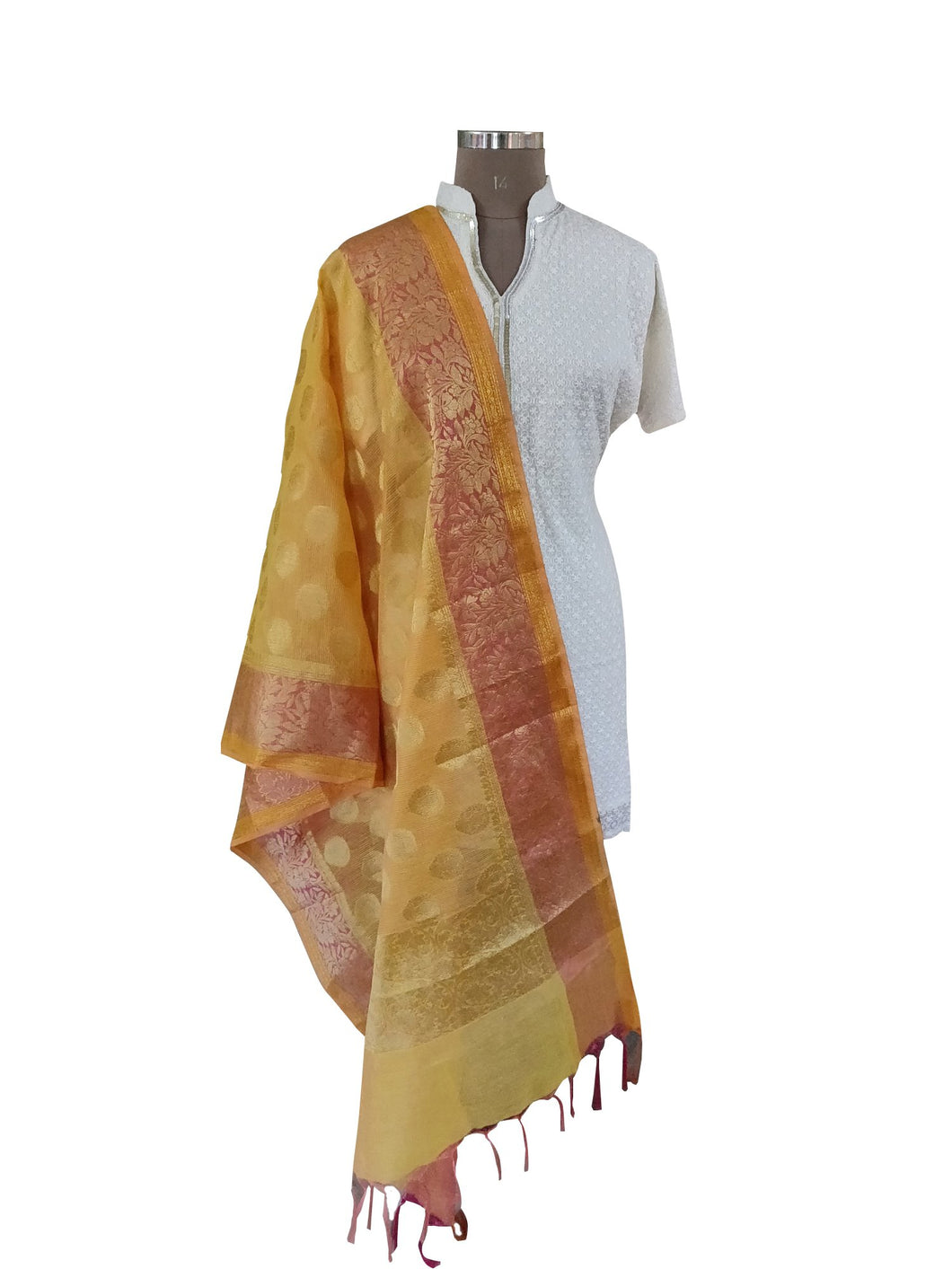 Benaras Kota Cotton Weaven Dupatta (Yellow_BKCD04) - Ethnic's By Anvi Creations