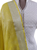 Handloom Tissue Linen Solid Yellow Dupatta BLD04