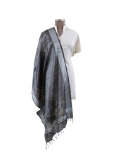 Load image into Gallery viewer, Handloom Tissue Linen Solid Black Dupatta BLD07