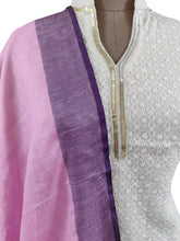 Load image into Gallery viewer, Handloom Linen Pink Solid Dupatta BLD09