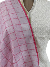 Load image into Gallery viewer, Handloom Tissue Linen Pink Check Dupatta BLD12