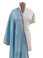 Load image into Gallery viewer, Handloom Tissue Linen Blue Check Dupatta BLD13