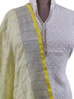 Handloom Tissue Linen Yellow Check Dupatta BLD14