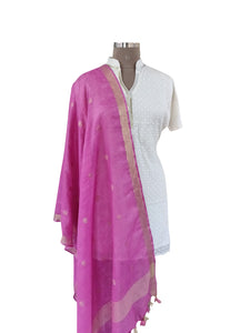 Handloom Linen Gold Butti Purple Dupatta BLD18