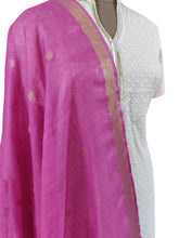 Load image into Gallery viewer, Handloom Linen Gold Butti Purple Dupatta BLD18