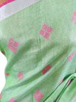 Silver Border  Green Tissue Linen Cotton Weaven Saree BL05
