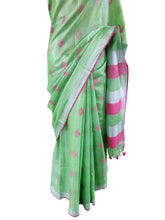 Load image into Gallery viewer, Silver Border  Green Tissue Linen Cotton Weaven Saree BL05