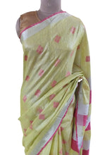 Load image into Gallery viewer, Silver Border Green Tissue Linen Cotton Weaven Saree BLS06
