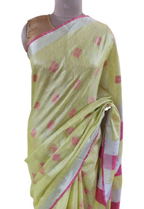 Silver Border Green Tissue Linen Cotton Weaven Saree BLS06
