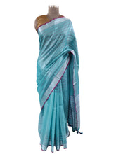 Load image into Gallery viewer, Silver Border Turquoise Tissue Linen Cotton Striped Saree BLS09