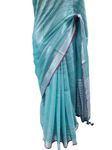 Silver Border Turquoise Tissue Linen Cotton Striped Saree BLS09