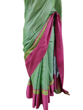 Load image into Gallery viewer, Gold Border Green Tissue Linen Cotton Saree BLS11