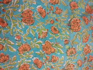 Exclusive Light Turquoise Block Printed Fabric Precut 2.5 meter Material Only BP44S