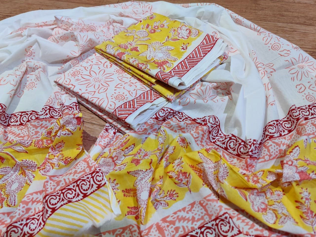 Exclusive Yellow Block Printed Cotton Salwar Kameez Dress Material with Cotton Dupatta BP58 - Ethnic's By Anvi Creations