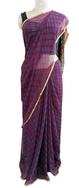 Exclusive Purple Pure Chiffon Block Printed Sarees with Blouse BPC1