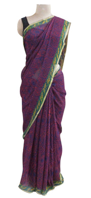 Exclusive Purple Pure Chiffon Block Printed Sarees with Blouse BPC3